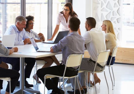 Employees in meeting room at table