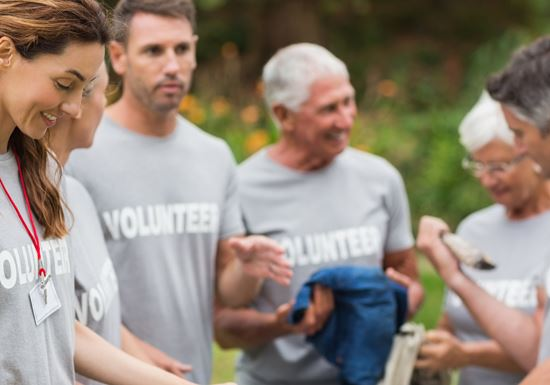 Group of volunteers talking