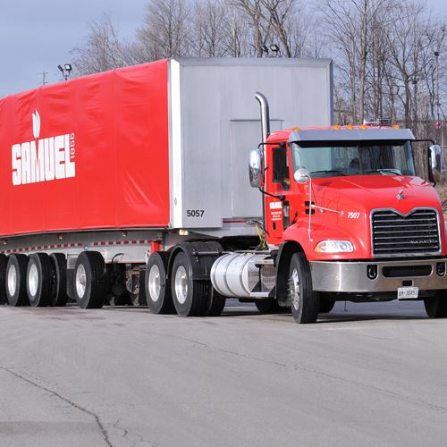 Samuel truck and trailer at a Samuel location