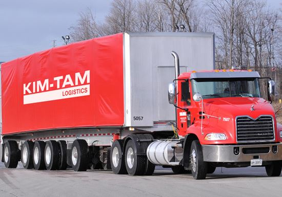 Red Kim-Tam transport truck and trailer