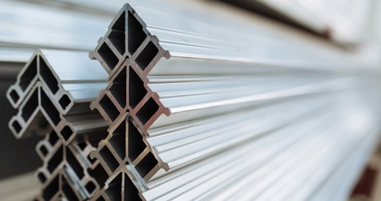 Triangle shaped aluminum extrusions stacked